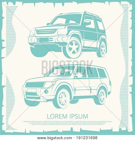 Vintage poster with Jeep cars design. Banner with automobile, vector illustration