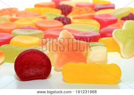 Colorful wine gums in different shapes colors and sizes
