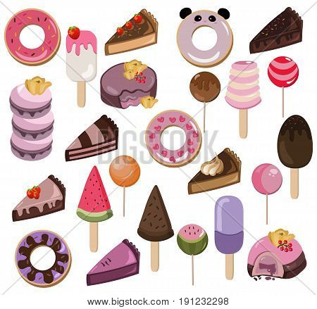 Set of delicious sweets and desserts with fruits. Summer confectionary bakery treats Vector illustration