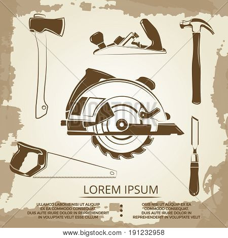Vintage design of carpentry equipment collection - carpentry tools poster. Carpentry vintage hammer and sawe illustration poster