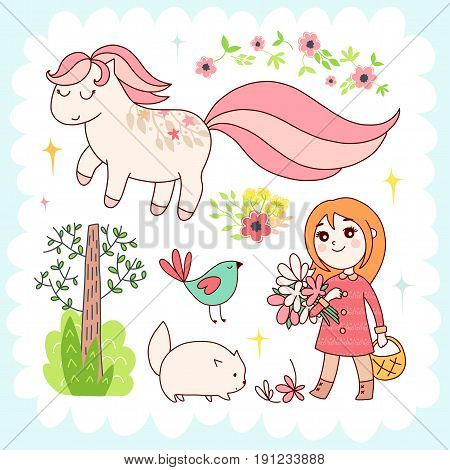 Doodles cute elements, spring theme. Color vector items collection. Illustration with girl and cat, pony and trees, flowers and bird. Design for prints and cards.