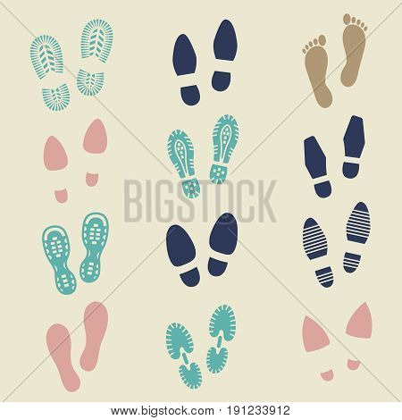 Colorful footprints - female, male and sport shoes footmarks. Rubber shoe sole print. Vector illustration