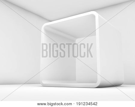 Abstract White Empty Interior, 3D Render