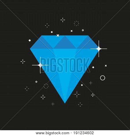 Flat simple icon of jewelry precious stone with star flashes, bursting light bubbles. Blue color beauty object. Jewellery decoration
