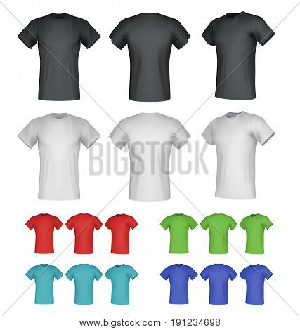 Plain male t-shirt templates. Isolated background. Back, front, side views.