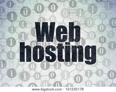Web design concept: Painted black text Web Hosting on Digital Data Paper background with  Scheme Of Binary Code