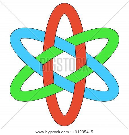 Template logo RGB interlocking ovals, vector weave of ellipses