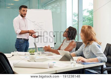 Portrait of handsome bearded entrepreneur standing at marker board and motivating sales managers to exceed goals during working meeting