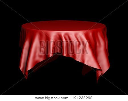 Red silk round tablecloth mockup isolated on black. 3D illustration