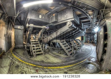 Below the stage turntable - in the abandoned theatre