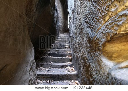 Narrow Parh - Mousehole - hiking trail in rocks city in Bohemian Paradise, Czech Republic