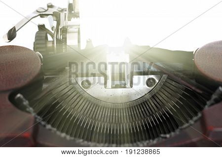 Inspiration - conceptual image of the old typewriter with blank paper
