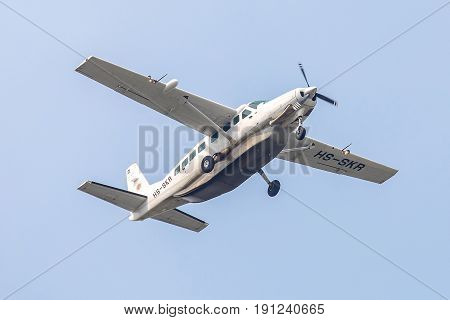 Bangkok, Thailand. - April 23, 2017 : Plane or Propeller aircraft of HS-SKR Soneva kiri Cessna 208B Grand Caravan on the sky landing to Suvanabhumi airport.