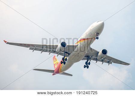 Bangkok, Thailand. - April 23, 2017 : Plane of Hongkong Airways or Airlines on the sky landing to airport.