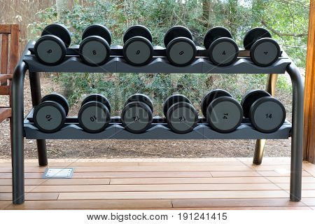 Gym with weights in the forest active, weight