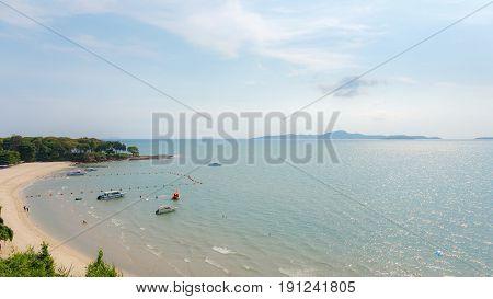 Pattaya, Chonburi, Thailand - May 6, 2017 : Sea beach of Pattaya, Chonburi, Thailand.