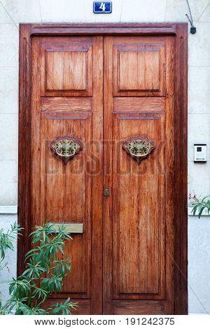 Luxury old wooden door in Europe building, antique