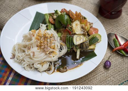 Food series: Papaya salad with vermicelli and fermented fish, Thai food