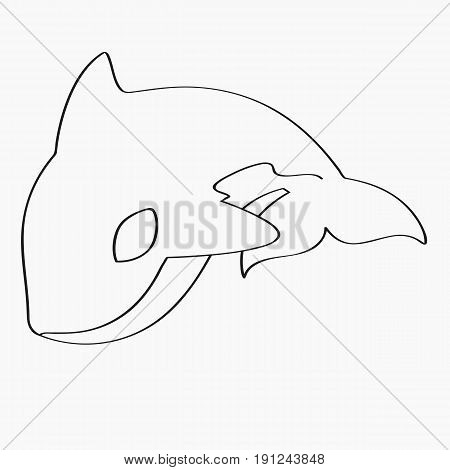 killer whale, orca line art vector on white background.