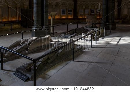 LONDON, GREAT BRITAIN - SEPTEMBER 19, 2014: These are ancient knight's sarcophaguses of the Knights Templar in the Temple Church.