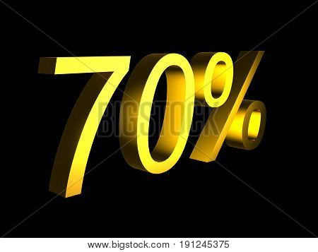 golden seventy percent on black background 3d render - sales financial concept