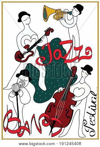 Poster for jazz music festival or concert. Jazz band on white background.
