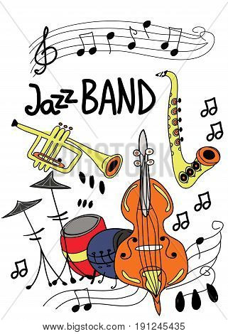 Poster for jazz music festival or concert. Jazz musical instruments on white background.