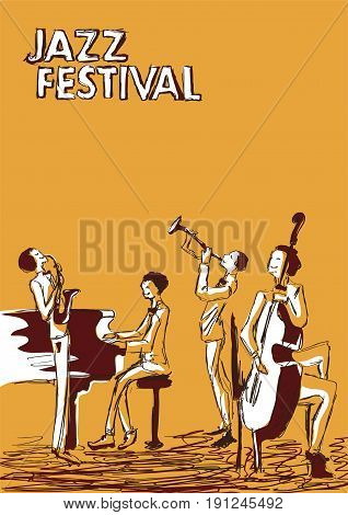 Poster for jazz music festival or concert. Jazz band on orange background.