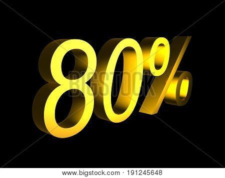 golden eighty percent on black background 3d render - sales financial concept