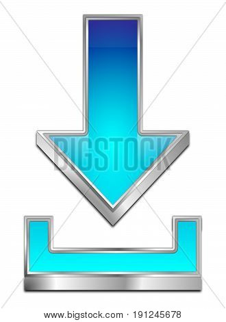 glossy blue Download Symbol - 3D illustration