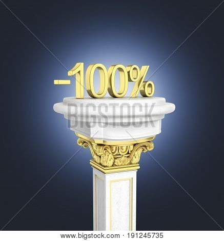 Gold Text 100 Percent Off Standing On The Pedestal Isolated On Dark Blue Gradient Background 3D Rend