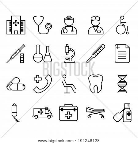 Collection of medical tools set icon vector