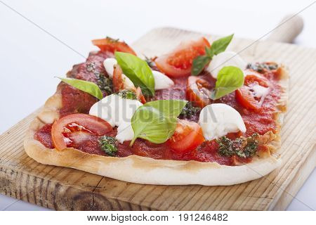 Pizza Pomodoro, Vegetarian And Homemade Isolated On White Background