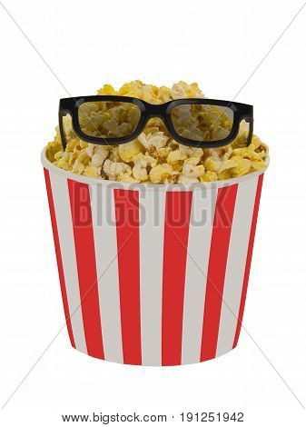 Popcorn in a striped red bucket with stereo glasses on a white background