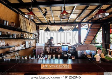 Maehongson, Thailand. - February 22, 2017 : Coffee Shop of Lee Wine or LeeWine Lodging houses at Ban Rak Thai (Thai loving village), Mae Hong Son province, Thailand.