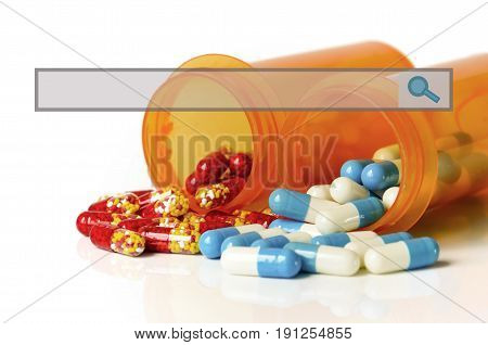 Capsules In Orange Bottle With Search Bar.