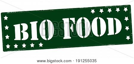 Stamp with text bio food inside vector illustration