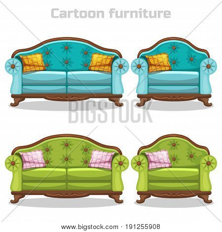 Vector Vintage Baroque Sofa and armchair in Blue and green colors, set furniture