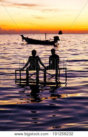 Sunrise People Boat  And Water   Coastline South China Sea