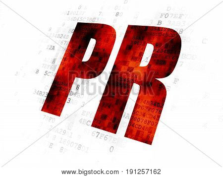 Advertising concept: Pixelated red text PR on Digital background