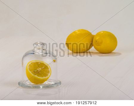 yellow lemon in ware on a table