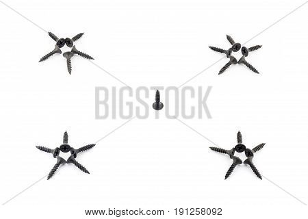 Four Stars And Single Screw Isolated On White