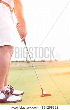 Low section of mid-adult man playing golf against clear sky