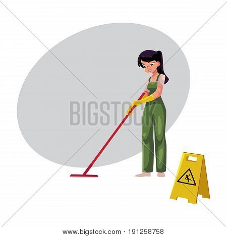 Cleaning service girl, charwoman, cleaner in overalls holding mop and bucket, cartoon vector illustration with space for text. Cleaning service girl holding mop and bucket, wearing uniform