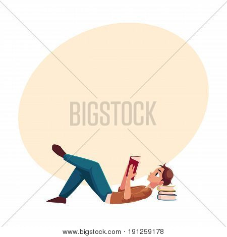 Young man, boy reading book lying on the floor, side view cartoon vector illustration with space for text. Full length portrait of man, guy lying with a book, reading