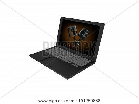 Computer on white background, two pistons, 3d render