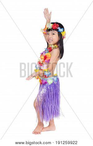Asian Chinese Little Girl In Hawaiian Costume
