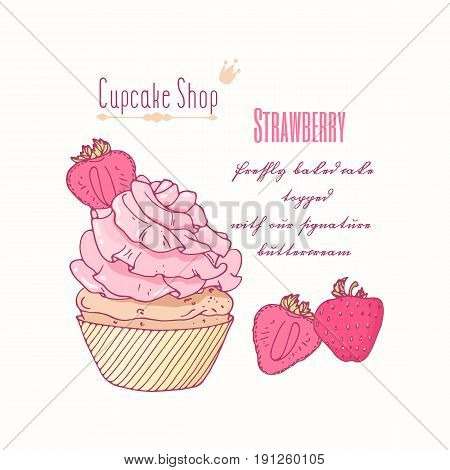 Hand drawn cupcake with doodle buttercream for pastry shop menu. Strawberry flavor. Vector illustration