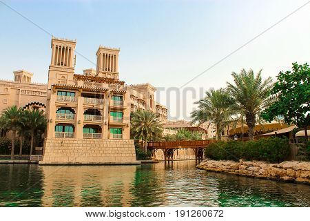 DUBAI UAE. December 2014. Views of Madinat Jumeirah hotel luxury 5 star with artificial canals at sunny clear day. View from the boat Abra