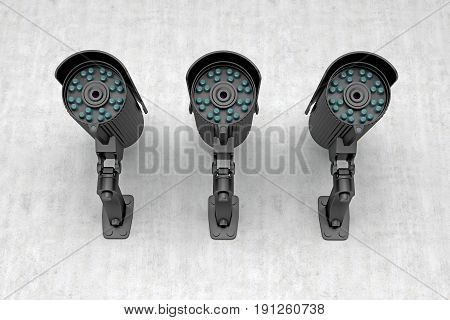 three surveillance cameras look arround. 3d rendering